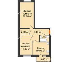 2 комнатная квартира 52 м², ЖК Ленина, 187 - планировка