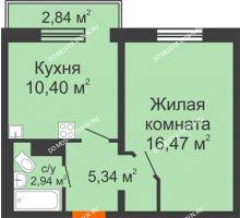 1 комнатная квартира 35,15 м² в ЖК Торпедо, дом № 16 - планировка