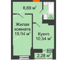 1 комнатная квартира 40,76 м² в ЖК Россинский парк, дом Литер 1 - планировка