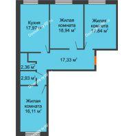 3 комнатная квартира 93,48 м², ЖК Две реки - планировка