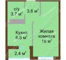 1 комнатная квартира 31,3 м² в ЖК ЮГ, дом № 15