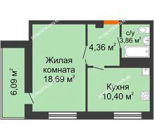 1 комнатная квартира 40,35 м² в ЖК Облака, дом № 2