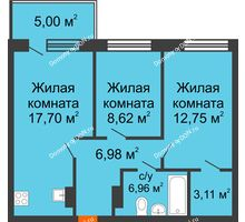 3 комнатная квартира 58,82 м² в ЖК Гвардейский 3.0, дом Секция 1 - планировка