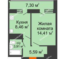 1 комнатная квартира 36,02 м² в ЖК Встреча, дом № 1 - планировка