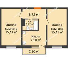 2 комнатная квартира 47,36 м² в ЖК Бурнаковский, дом № 47 - планировка