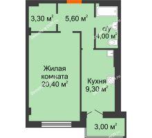1 комнатная квартира 45,6 м² в ЖК Парк Островского 2, дом № 1 - планировка