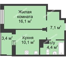1 комнатная квартира 39,4 м² в ЖК Аквамарин, дом №8 - планировка