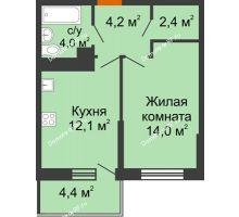 1 комнатная квартира 38 м² в ЖК Отражение, дом Литер 2.2 - планировка