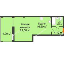 Студия 51,7 м², ЖК Art House - планировка