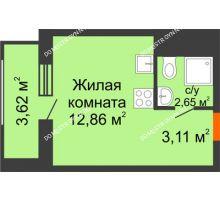 Студия 22,24 м² в ЖК Москва Град, дом 60/2 - планировка