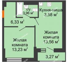 1 комнатная квартира 43,93 м² - ЖК Олимпийский