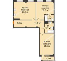 2 комнатная квартира 97,39 м² в ЖК Георгиевский, дом 6 - планировка