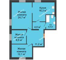 3 комнатная квартира 82,7 м² в ЖК Малоэтажный квартал, дом ГП-57 - планировка