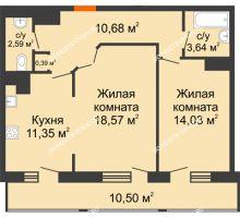 2 комнатная квартира 71,75 м² в ЖК Покровский, дом № 1 - планировка