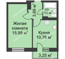 1 комнатная квартира 34,93 м² в ЖК Загородный мкрн Акварель  микрогород Стрижи, дом №7к2 - планировка