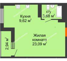 Студия 37,86 м², ЖК Орбита - планировка
