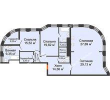3 комнатная квартира 144,8 м² в ЖК Плотничный, дом № 2 - планировка