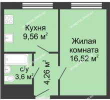 1 комнатная квартира 33,9 м² - ЖК Алый Парус