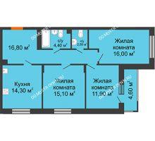 3 комнатная квартира 83,6 м² в ЖК Цветы 2, дом № 4 - планировка