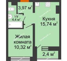 1 комнатная квартира 34,43 м² в ЖК Краснолесье, дом ГП-4 - планировка