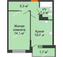 1 комнатная квартира 34,4 м², ЖК Акварели-3 - планировка