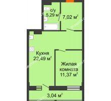 Студия 49,21 м² в ЖК Дом с террасами, дом № 6 - планировка