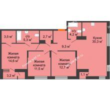 3 комнатная квартира 94,3 м², Жилой дом Фамилия - планировка