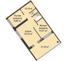 """2 комнатная квартира 54,78 м² в Микрорайон Звездный, дом ГП-1 (Дом """"Меркурий"""") - планировка"""