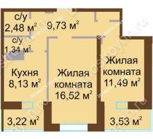 2 комнатная квартира 53,06 м² - Жилой дом Каскад на Даргомыжского