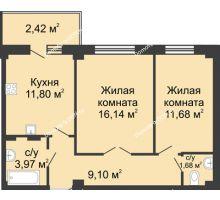 2 комнатная квартира 55,8 м² в ЖК Соловьиная роща, дом № 1 - планировка
