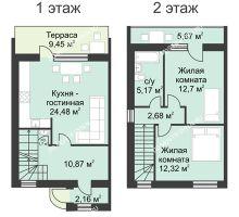 3 комнатная квартира 90 м² в КП Фроловский, дом № 9 по ул. Восточная (90 м2) - планировка