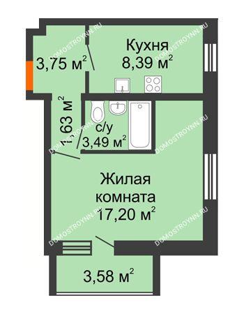 1 комнатная квартира 36,25 м² в ЖК АВИА, дом № 2