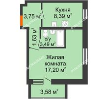 1 комнатная квартира 36,25 м² в ЖК АВИА, дом № 2 - планировка