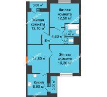 3 комнатная квартира 76,3 м² в ЖК Левенцовка парк, дом Корпус 8-4 - планировка