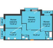 3 комнатная квартира 88,89 м², Жилой дом: г. Дзержинск, ул. Кирова, д.12 - планировка