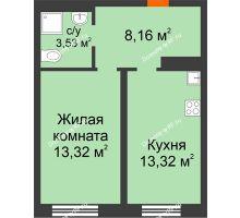 1 комнатная квартира 38,33 м² в ЖК Акватория, дом ГП-2 - планировка