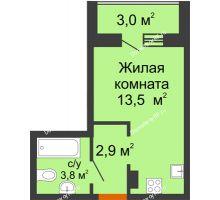 Студия 21,7 м² в ЖК Самолет 2, дом Литер 3 - планировка