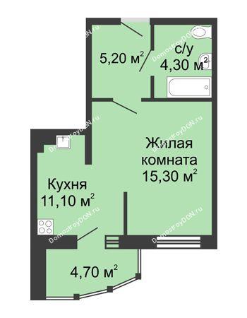 1 комнатная квартира 40,6 м² в ЖК Мега, дом № 2