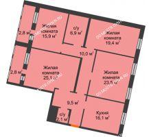 4 комнатная квартира 134,1 м², Жилой дом: ул. Варварская - планировка