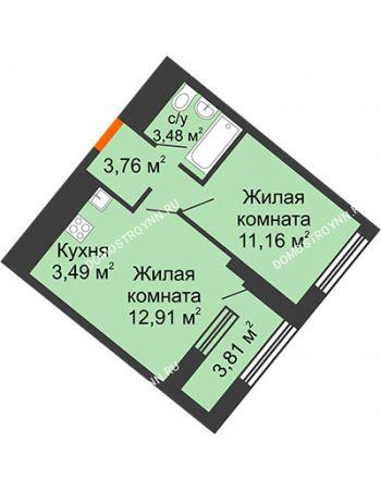 1 комнатная квартира 36,71 м² в ЖК Дом на Набережной, дом № 1