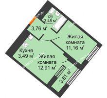 1 комнатная квартира 36,71 м² в ЖК Дом на Набережной, дом № 1 - планировка