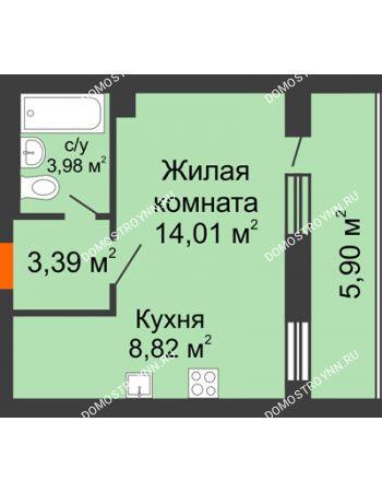 1 комнатная квартира 33,15 м² - ЖК Дом у озера