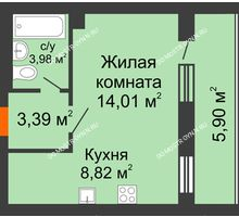 1 комнатная квартира 33,15 м², ЖК Дом у озера - планировка