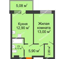 Студия 43,88 м² в ЖК Гвардейский 3.0, дом Секция 1 - планировка