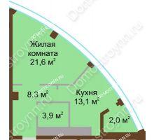 1 комнатная квартира 48,9 м² в ЖК Монолит, дом № 89, корп. 1, 2 - планировка