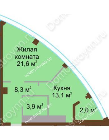 1 комнатная квартира 48,9 м² в ЖК Монолит, дом № 89, корп. 1, 2