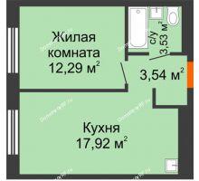 1 комнатная квартира 37,28 м² в ЖК Мозаика Парк, дом ГП-1 - планировка