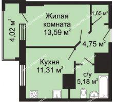 1 комнатная квартира 38,49 м² - ЖК Гелиос