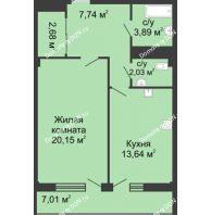 1 комнатная квартира 52,4 м² в  ЖК РИИЖТский Уют, дом Секция 1-2 - планировка