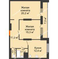2 комнатная квартира 70,7 м², ЖК Космолет - планировка